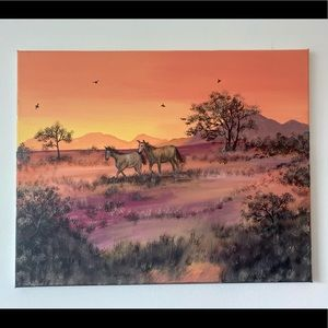 Horses in a field painting